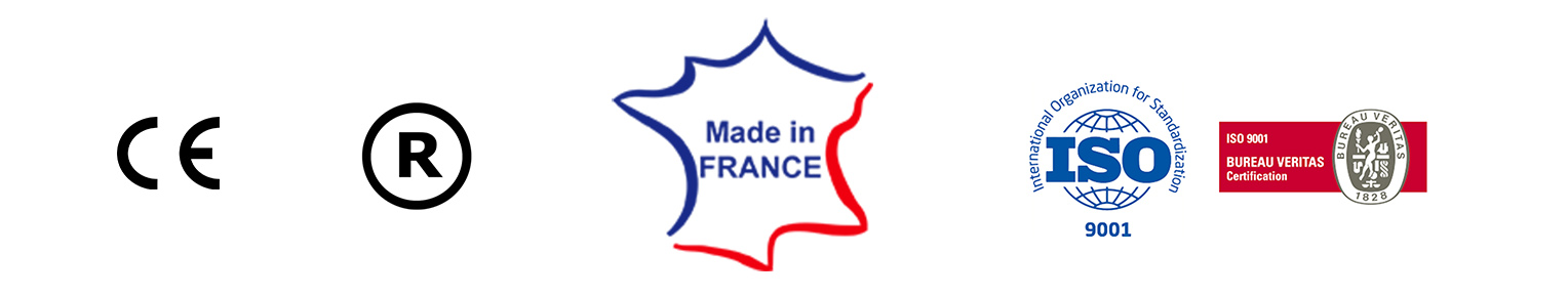 CE - R - Made in france - Iso 9001