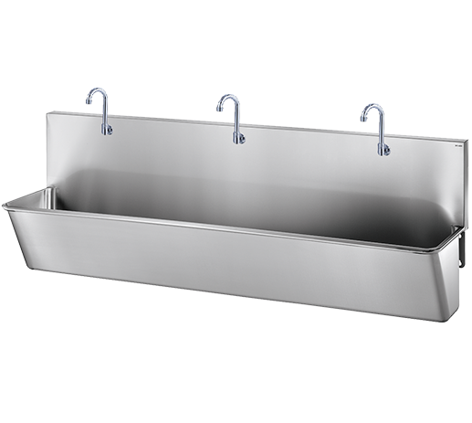 Stainless steel scrub up trough